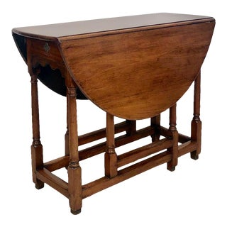Walnut Drop Leaf Table England Circa 1750 For Sale