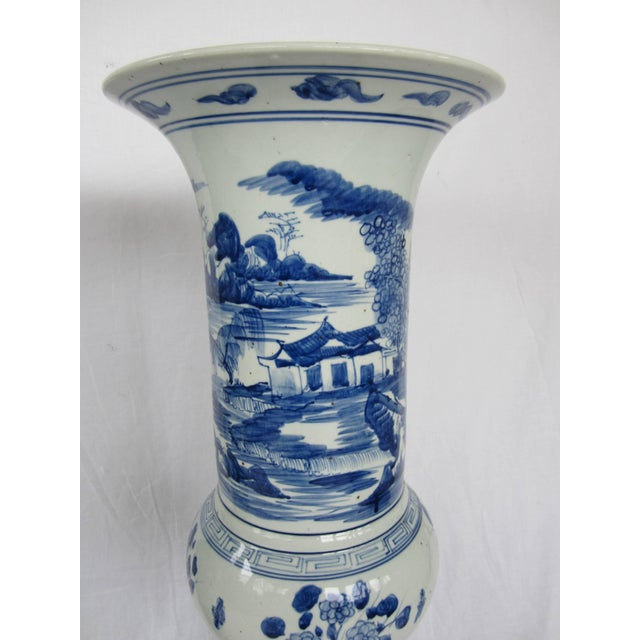 Pair of Large Blue and White Chinese Trumpet Vases For Sale - Image 4 of 9