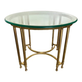 Mid-Century Hollywood Regency Brass & Glass Side Table For Sale