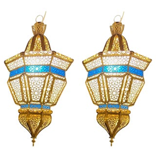 Moroccan Brass and White Milk and Blue Glass Lantern/Chandeliers - a Pair For Sale