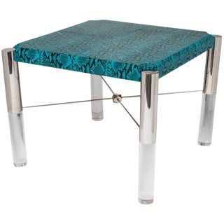 1970's Turquoise Leather Snakeskin and Lucite Game Table For Sale