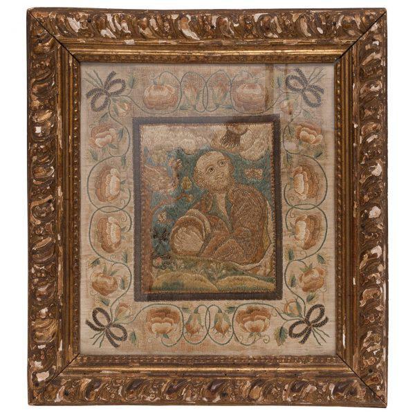 Italian Silk Thread Needlework in Gilt Frame For Sale - Image 11 of 11