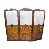 Image of Antique Italianate Victorian Hand Painted Leather Floor Screen For Sale