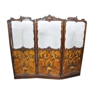 Antique Italianate Victorian Hand Painted Leather Floor Screen For Sale