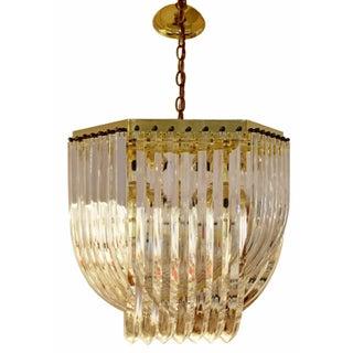 Mid Century Modern Brass & Lucite Ribbon Chandelier Light Fixture Preview