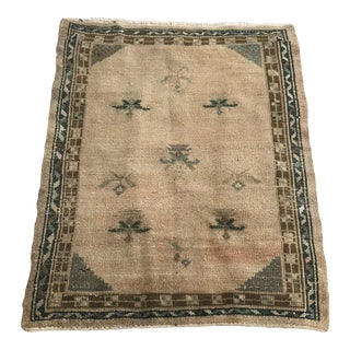 "Hand Made Vintage Turkish Area Rug- 3'3""x4'2' For Sale"