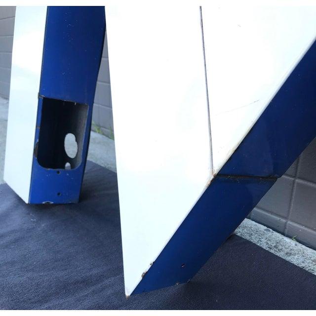 """Large Vintage Blue & White Enamel """"M"""" Building Signage For Sale - Image 4 of 12"""