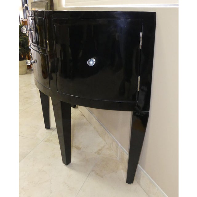 Contemporary Black Lacquered Demilune Console Cabinet With Mirrored Top For Sale - Image 4 of 9