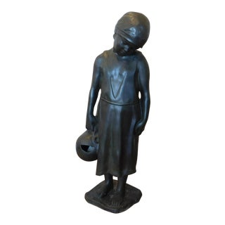 "Vintage 1980s Bronze Statue of Child Maiden W/ Water Jug ~ 40"" High"