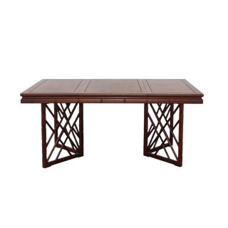 Chinese Oriental Brown Rectangular Writing Desk Dining Table For Sale