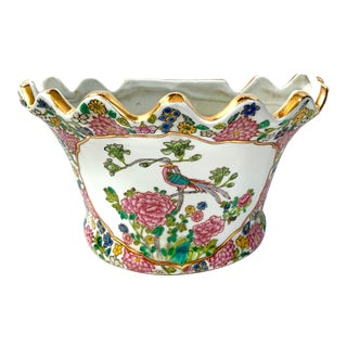 Chinese Porcelain Famille Rose Wall Pocket / Cachepot For Sale