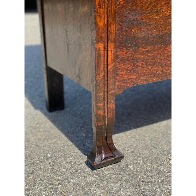 Antique Arts & Crafts Quartersawn Oak Carved Hall Tree Bench W/ Mirror For Sale - Image 11 of 13
