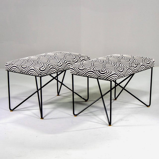 Italian Mid Century Style Bench With Black Iron Hairpin Legs For Sale - Image 10 of 11