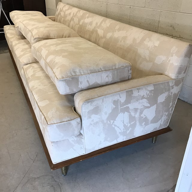 Mid-Century Sofa With Brass Legs For Sale - Image 9 of 9