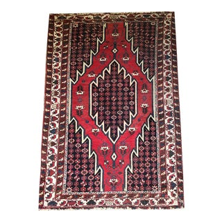Antique Geometric Persian Primitive Mazleghan Rug For Sale