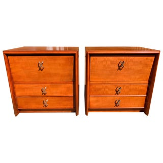 Pair of Paul Frankl for Johnson Furniture Cherry Nightstands With Nickel X-Pulls For Sale