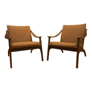 1950's Mid-Century Modern Arne Hovmand Olsen Lounge Chairs - a Pair For Sale