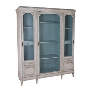French Painted Belle Epoque Biblioteque with acqua interior
