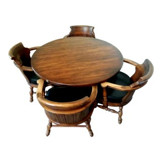 Oak Game Table and Barrel Back Chairs - 5 Piece Set For Sale