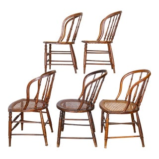 19th Century Vintage Cane Seat Spindle Back Windsor Primitive Bow Back Chairs For Sale