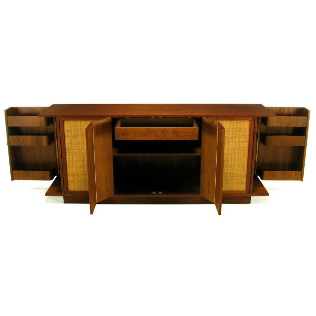 Dunbar Furniture Dunbar Walnut and Cane Credenza by Edward Wormley For Sale - Image 4 of 10