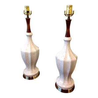 Gold Speckled White Ceramic Table Lamps - A Pair