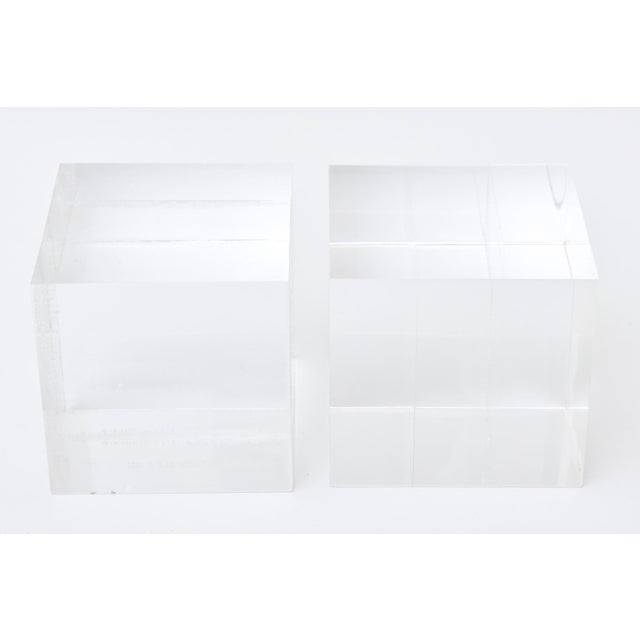 Lucite Square Cube Bookends Vintage 70's Pair Of For Sale - Image 9 of 9