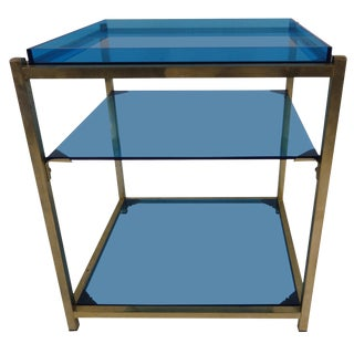 1980s Contemporary 3-Tier Blue Acrylic Brass Table For Sale
