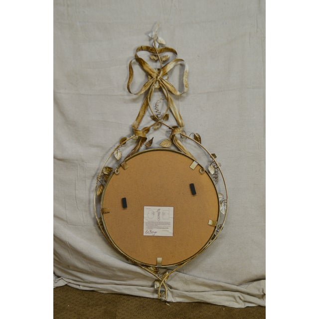 Labarge LaBarge Italian Floral Hand Painted Tole Metal Beveled Wall Mirror For Sale - Image 4 of 13
