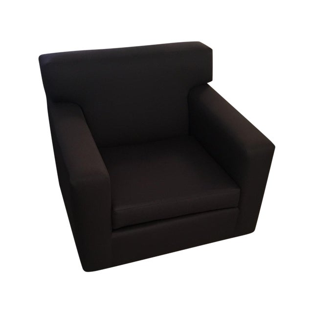 Custom Swivel Club Chair in Graphite Cotton-Sateen - Image 1 of 6