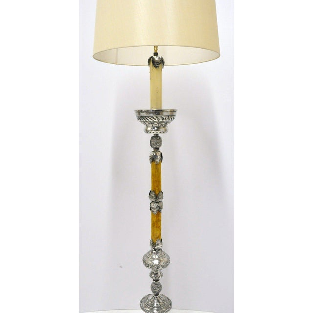 This long, elegant, antique floor lamp was created in Venice, Italy, circa 1890. The light features an intricate silver-...