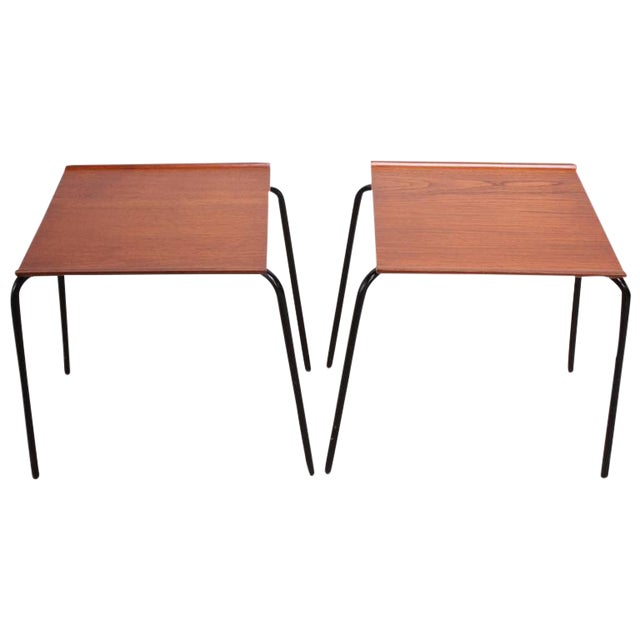 1950s Arne Jacobsen for Fritz Hansen Danish Teak and Metal Stacking Tables - A Pair For Sale
