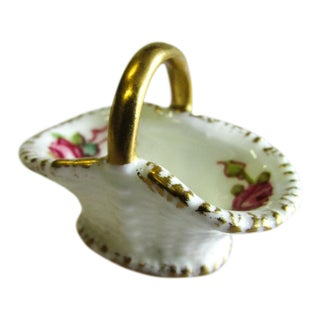 1941 Vintage Royal Worcester Hand-Painted Roses Porcelain Miniature Basket For Sale