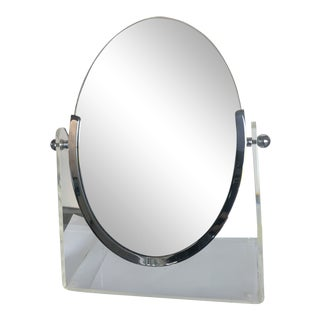 1970s Vintage Oval Tabletop Mirror For Sale