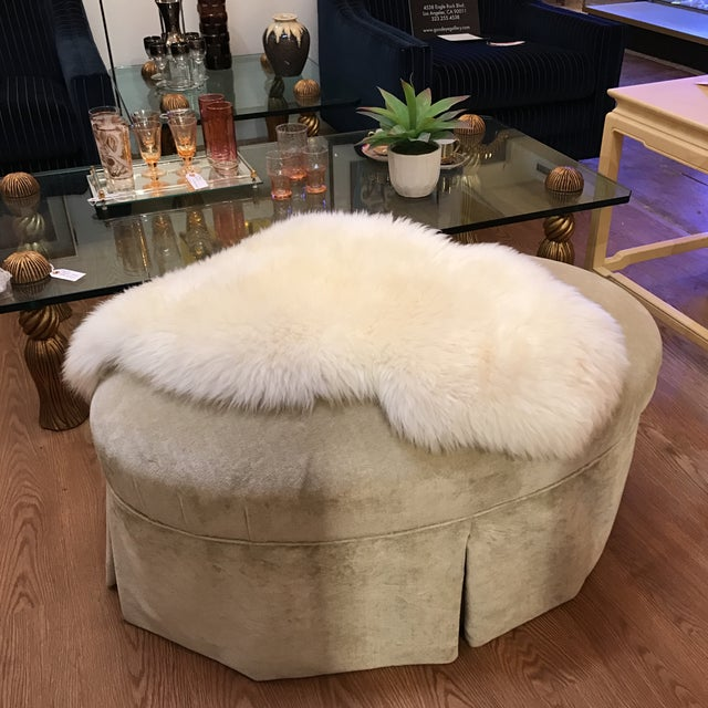 Contemporary Oval Upholstered Ottoman - Image 7 of 8