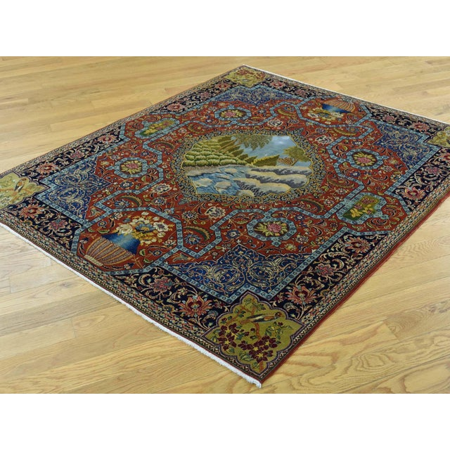 Shahbanu Rugs Antique Persian Tabriz Pictorial Rug- 4′7″ × 5′4″ For Sale - Image 4 of 13