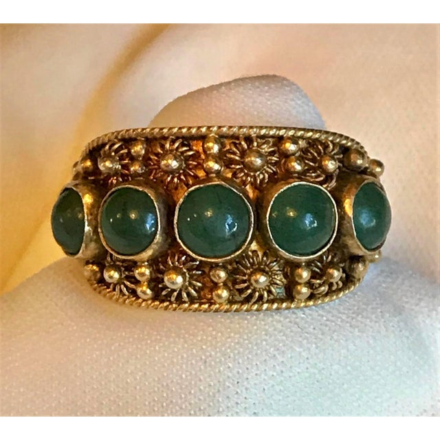 Metal Chinese Gold-Plated Sterling and Jade Ring For Sale - Image 7 of 8