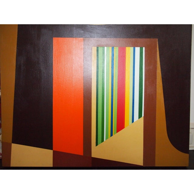 Mid-Century Modern 1972 Original Vintage Jervis Abstract Mid-Century Modern Hard Edge Oil on Canvas Painting For Sale - Image 3 of 7