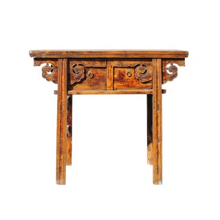 Vintage Chinese Ancient Scroll Ru Yi Motif Altar Table Vanity Desk For Sale