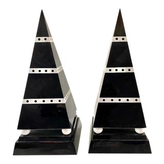 Vintage Maitland Smith Tesselated Tall Obelisks - a Pair For Sale