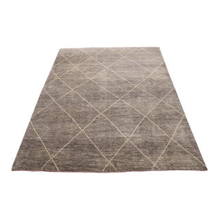 Mid-Century Modern Moroccan Gray Brown Ivory Wool Rug - 8′2″ × 10′5″ For Sale