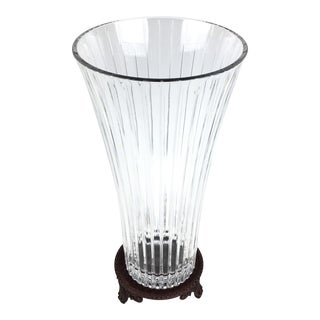 1990sFlared Crystal Vase With Stand For Sale