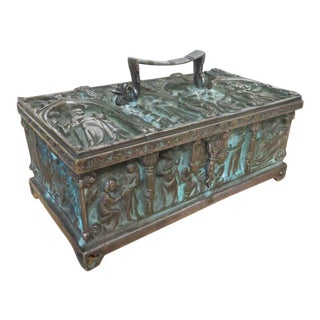 Antique Spanish Nickel Treasure Box Embossed With Religious Motif For Sale