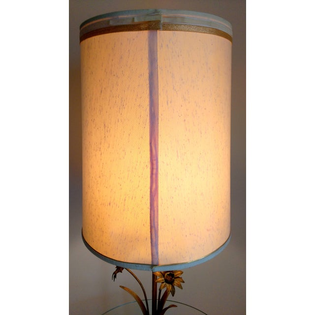 Gold Italian Toleware Gilded Flower Floor Lamp Table For Sale - Image 8 of 9