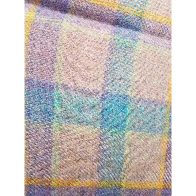 Wool Throw Blue and Purple Stripes on a Gray Background - Made in England For Sale - Image 9 of 11