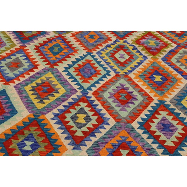 Contemporary Bohomian Style Kilim Lan Ivory/Blue Hand-Woven Wool Rug - 8'1 X 9'7 For Sale - Image 4 of 8