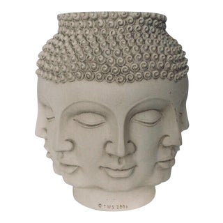 Fornasetti Dora Maar Style Multi Face Asian Buddha Planter / Vase For Sale