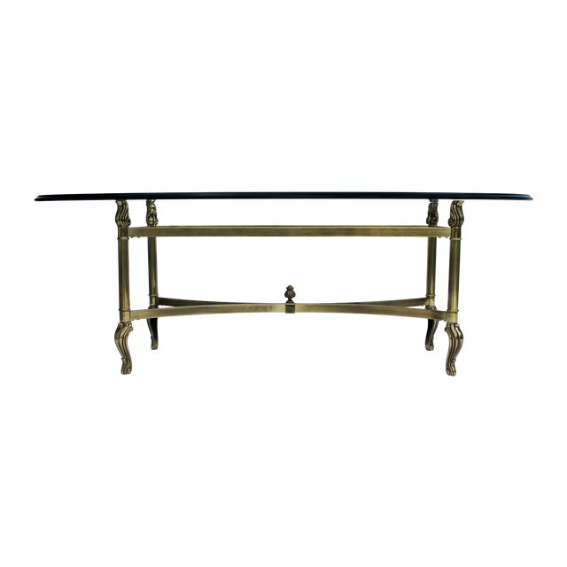 Oval Brass & Glass Coffee Table - Image 1 of 7
