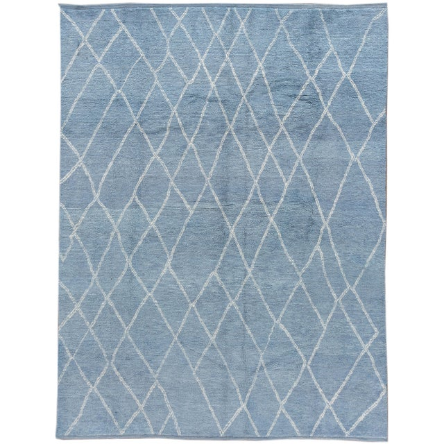 """White Blue Moroccan Rug, 9'4"""" X 11'9"""" For Sale - Image 8 of 8"""