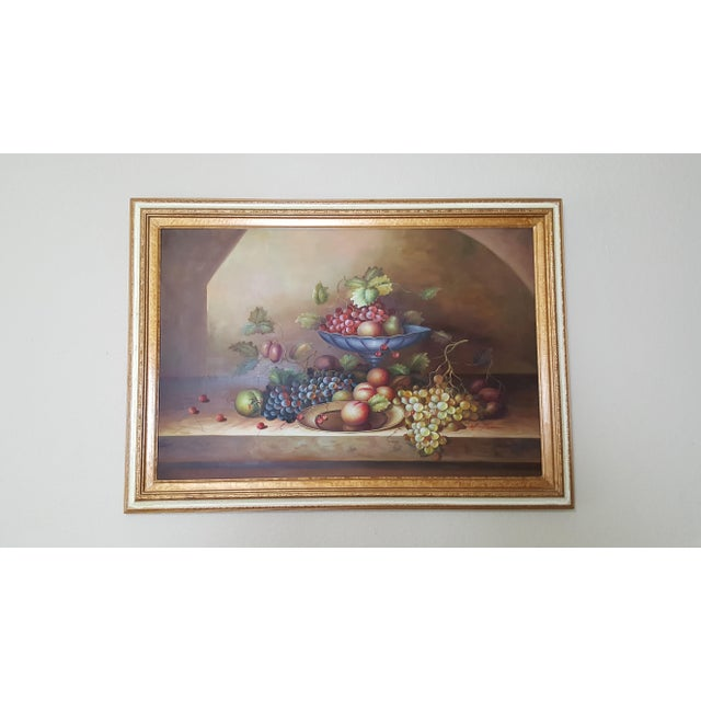 Late 20th Century Large Still Life Oil Painting on Canvas Signed M. Aaron For Sale - Image 5 of 8